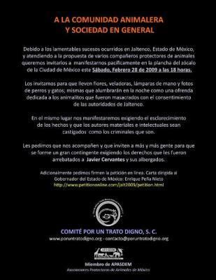 Manifestación pacífica 28 de febrero, apoyo a perros de Jaltenco